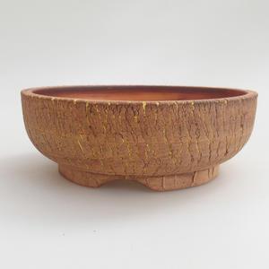 Keramik Bonsai Schüssel 16 x 16 x 5,5 cm, braun-gelbe Farbe