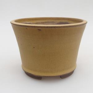 Keramik Bonsai Schüssel 11 x 11 x 8 cm, gelbe Farbe
