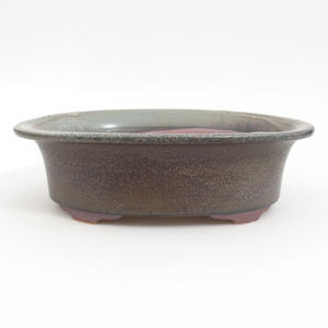 Keramik-Bonsaischale 23 x 18,5 x 6,5 cm, braun-blaue Farbe