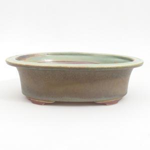 Keramik-Bonsaischale 23 x 18,5 x 6,5 cm, braungrüne Farbe