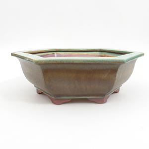 Keramik Bonsaischale 29 x 25 x 9 cm, braun-grüne Farbe