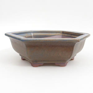 Keramik Bonsai Schüssel 24 x 21,5 x 8 cm, braun-blaue Farbe