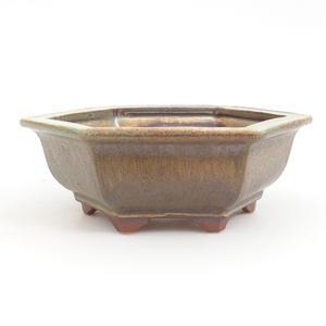 Keramik Bonsaischale 17 x 15,5 x 6 cm, braun-grüne Farbe