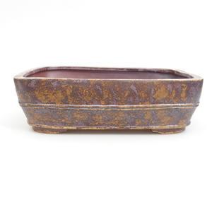Keramik Bonsai Schüssel 25 x 19 x 7 cm, braun-grüne Farbe