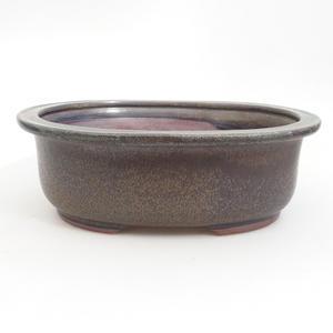 Keramik-Bonsaischale 23,5 x 19,5 x 8 cm, braun-blaue Farbe