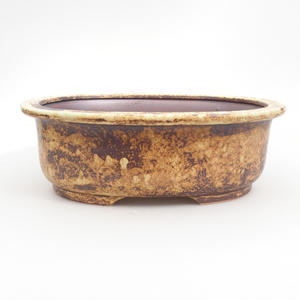 Keramik-Bonsaischale 23,5 x 19,5 x 8 cm, braun-gelbe Farbe