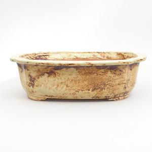 Keramik Bonsai Schüssel 25 x 21 x 7,5 cm, braun-gelbe Farbe