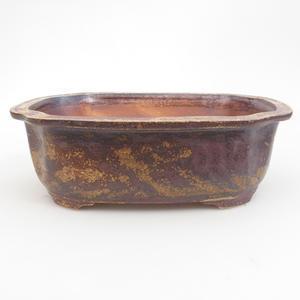 Keramik Bonsaischale 22,5 x 18 x 7 cm, braun-grüne Farbe