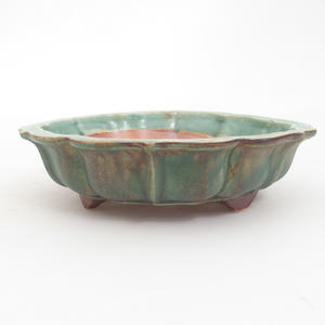 Keramik-Bonsaischale 18,5 x 18,5 x 5 cm, braun-grüne Farbe