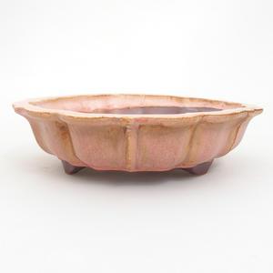 Keramik Bonsaischale 18,5 x 18,5 x 5 cm, Farbe pink