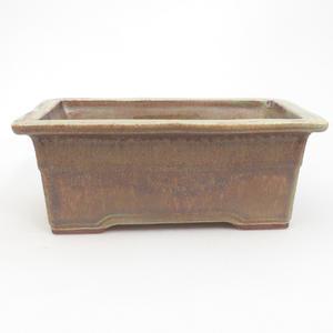 Keramik-Bonsaischale 19 x 14 x 8 cm, braun-grüne Farbe - 2. Wahl