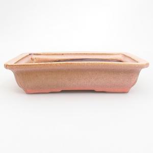Keramik Bonsai Schüssel 18 x 13,5 x 4,5 cm, braun-rosa Farbe