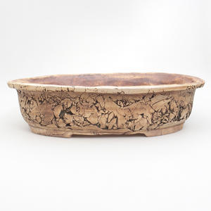 Keramik Bonsaischale 37 x 29 x 8,5 cm, braun-grüne Farbe - 2. Wahl