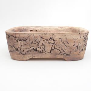 Keramik Bonsaischale 24 x 18 x 8 cm, braun-grüne Farbe
