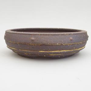 Keramik Bonsai Schüssel 20 x 20 x 5,5 cm, braun-gelbe Farbe