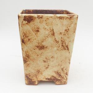 Bonsaischale aus Keramik 2. Wahl - 15 x 15 x 19 cm, braun-gelbe Farbe