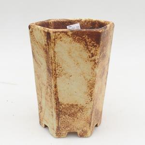 Keramik Bonsai Schüssel 2. Wahl - 13 x 11 x 17 cm, braun-gelbe Farbe