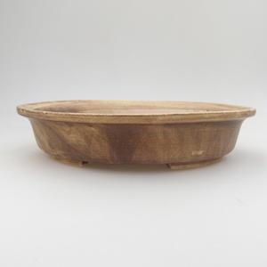 Keramik Bonsai Schüssel 24 x 21 x 5 cm, braun-gelbe Farbe