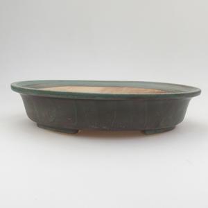 Keramik Bonsaischale 24 x 21 x 5 cm, braun-grüne Farbe