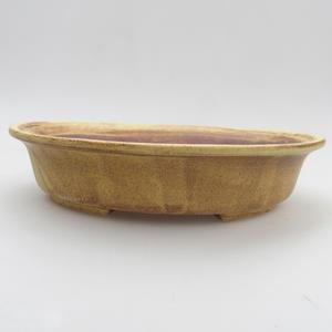 Keramik-Bonsaischale 20,5 x 18 x 4,5 cm, gelbbraune Farbe