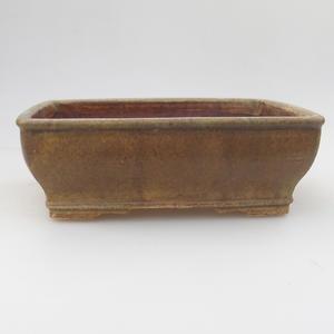 Keramik Bonsaischale 17,5 x 14,5 x 5,5 cm, braun-grüne Farbe