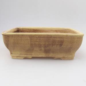 Keramik-Bonsaischale 17,5 x 14,5 x 5,5 cm, gelbbraune Farbe