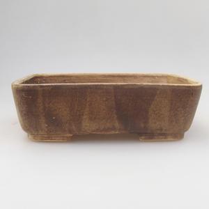 Keramik Bonsaischale 18 x 15 x 5 cm, gelbbraune Farbe