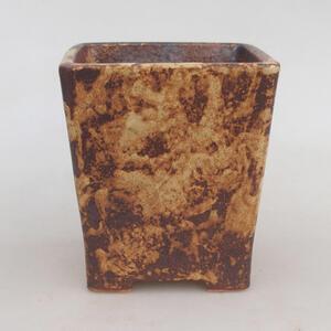 Keramická bonsai miska 10,5 x 10,5 x 12 cm, barva hnědožlutá