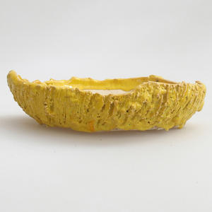 Keramik Bonsai Schüssel 17 x 17 x 4 cm, gelbe Farbe