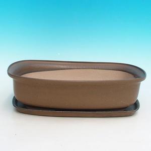 Bonsai Schüssel Tablett H10 - Schüssel 37 x 27 x 10 cm, Tablett 34 x 23 x 2 cm, schwarz glänzend - Schüssel 37 x 27 x 10 cm, Tablett 34 x 23 x 2 cm