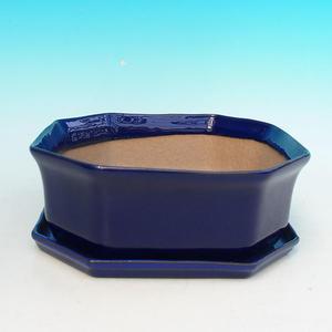 Bonsai Schale Tablett mit Wasser H14 +, blau