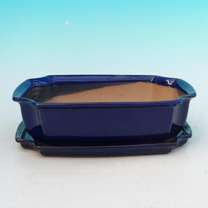 Bonsai Schüssel Tablett H03 - 16,5 x 11,5 x 5 cm, Tablett 16,5 x 11,5 x 1 cm, weiß - 16,5 x 11,5 x 5 cm, Tablett 16,5 x 11,5 x 1 cm