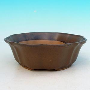 Bonsaischale aus Keramik H 06 - 14,5 x 14,5 x 4,5 cm, braun - 14,5 x 14,5 x 4,5 cm