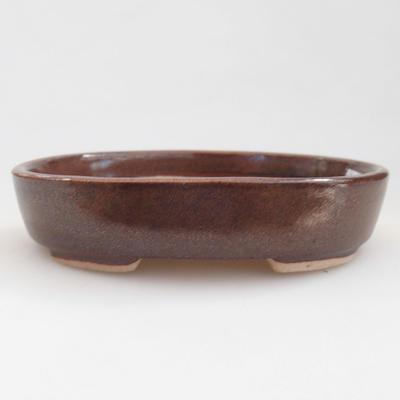 Keramische Bonsai-Schale 11 x 9 x 2,5 cm, braune Farbe - 1