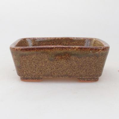 Keramische Bonsai-Schale 9,5 x 8 x 3,5 cm, braun-grüne Farbe - 1