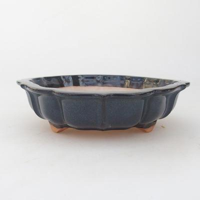 Keramische Bonsai-Schale 18 x 18 x 5 cm, braun-blaue Farbe - 1