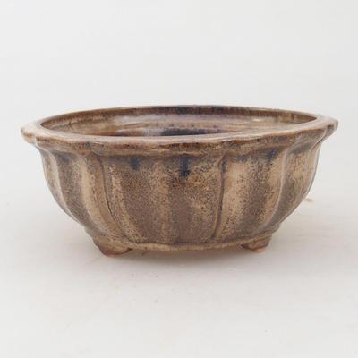 Keramische Bonsai-Schale 11,5 x 11,5 x 4,5 cm, braun-beige Farbe - 1