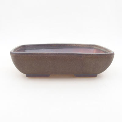 Keramische Bonsai-Schale 20 x 15,5 x 5 cm, braune Farbe - 1