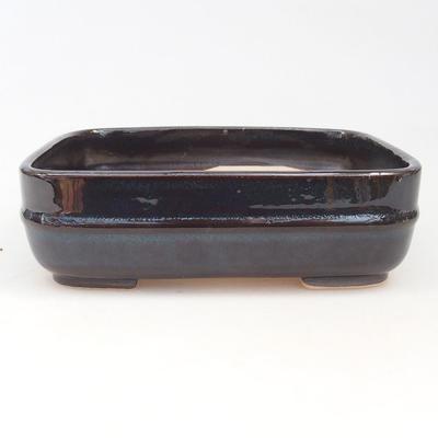 Keramische Bonsai-Schale 14 x 12 x 4,5 cm, braun-blaue Farbe - 1