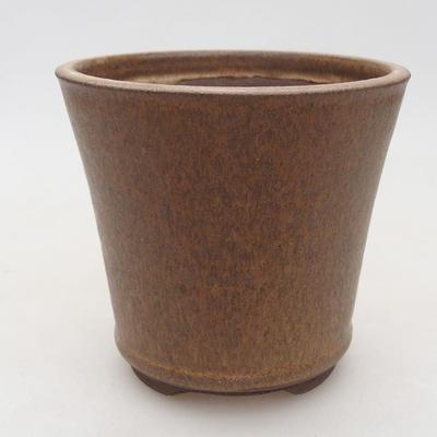 Keramische Bonsai-Schale 10,5 x 10,5 x 9,5 cm, braune Farbe - 1