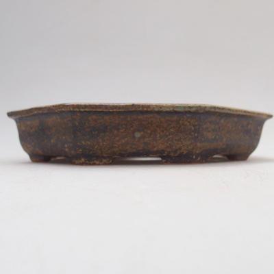 Keramische Bonsai-Schale 11,5 x 11,5 x 2 cm, Farbe grün-braun - 1