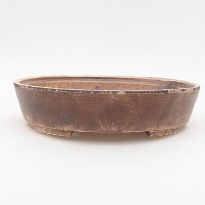 Keramische Bonsai-Schale 22,5 x 20 x 5 cm, braune Farbe - 1