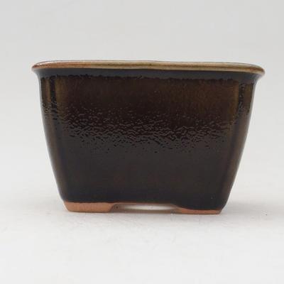 Keramische Bonsai-Schale 8,5 x 8,5 x 5 cm, Farbe grün-gold - 1