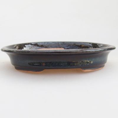 Keramische Bonsai-Schale 12 x 10 x 2,5 cm, Farbe schwarz-blau - 1