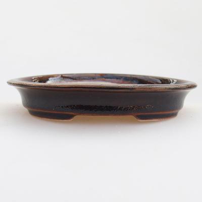 Keramische Bonsai-Schale 12 x 10 x 2,5 cm, braune Farbe - 1