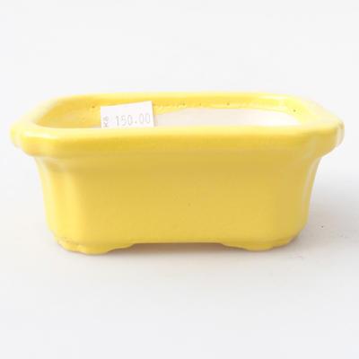 Keramik Bonsai Schüssel 10,5 x 8,5 x 4 cm, gelbe Farbe - 1