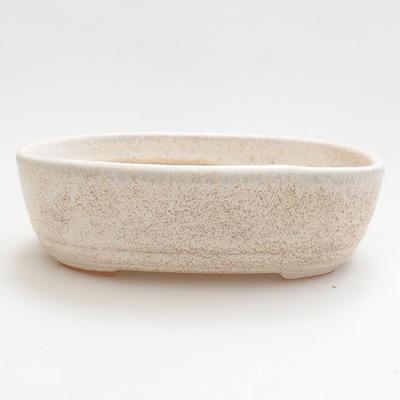 Keramische Bonsai-Schale 12,5 x 8,5 x 3,5 cm, beige Farbe - 1