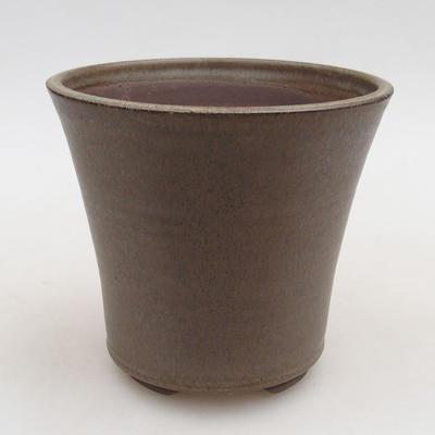 Keramische Bonsai-Schale 12,5 x 12,5 x 11 cm, braune Farbe - 1