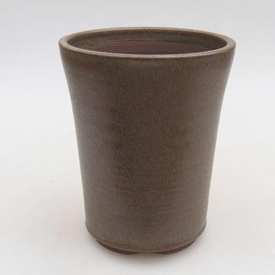 Keramische Bonsai-Schale 10,5 x 10,5 x 13 cm, braune Farbe - 1