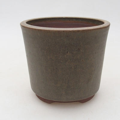 Keramische Bonsai-Schale 10,5 x 10,5 x 9 cm, braun-grüne Farbe - 1